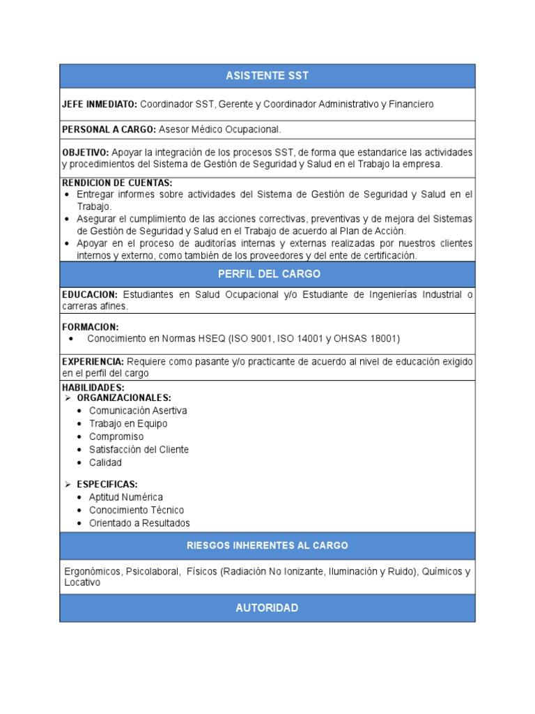 Perfil de Asistente HSEQ