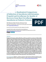 Prospective, Randomized Comparisons of Induction of Anesthesia With Ketamine, Propofol and Sevoflurane for Quality of Recovery From Short Sevoflurane Anesthesia in Pediatri