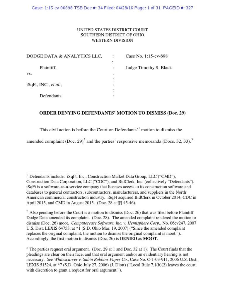 Order Denying Defendants Motion To Dismiss Trespass Sherman
