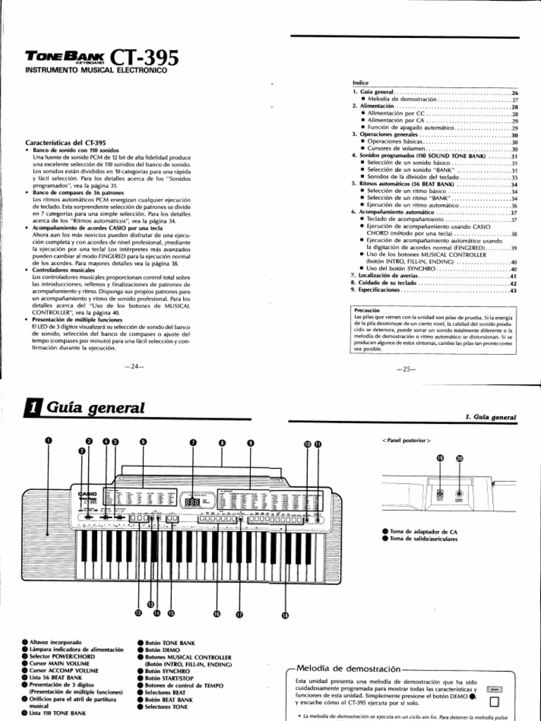 Manual Casio CT-395 ESPAÑOL
