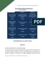 Plan de Estudios Especialización en Gestión Tecnologica