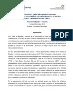 V Taller de Equidad e Inclusion Indicadores y Desafios Futuros Para La Equidad en La Universidad PDF 456 Kb