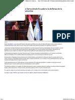 02-06-16 Presidenta del parlatino llama desde Ecuador a la defensa de la democracia en los Parlamentos.
