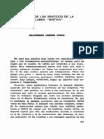 Averca de Lo Sentido de La Palavra Mística (Scripta Theologica, 10 No 2 May - Aug 1978, p 657-672)