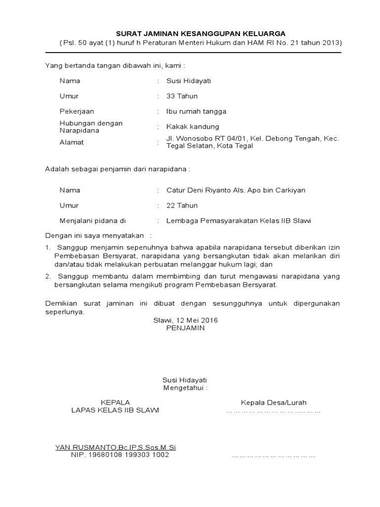 Format Surat Pernyataan Napi Jaminan Lppwbp