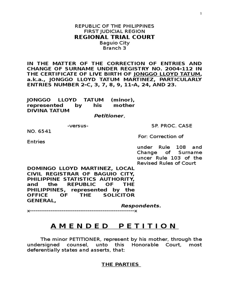 Sample amended petition rule 103 and 108 common law politics yadclub Image collections