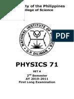 Physics 71 1st Long Exam
