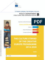 THE CULTURE STRAND OF THE CREATIVE  EUROPE PROGRAMME 2014-2020