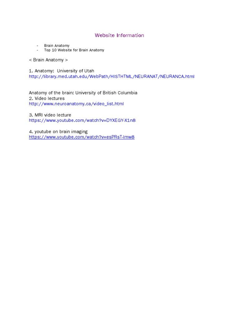 Websites for Neuroanatomy | Neuroanatomy | Anatomy