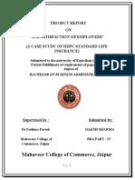 job satisfaction of employees of Hdfc