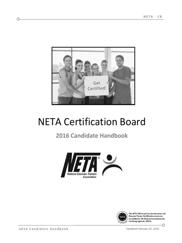 2016 Neta Exam Candidate Handbook Personal Trainer Professional