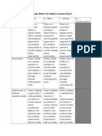 example rubric for digital creation project