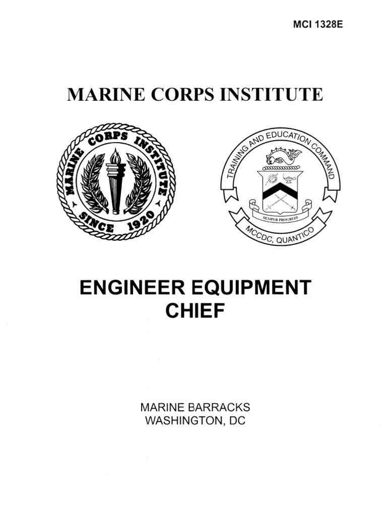 1328e engineer equipment chief rh scribd com USMC Engineer Equipment Operator Engineer Equipment Characteristics Manual