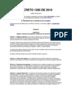 Decreto 1295 de Abril 20 de 2010