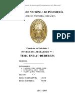 Informe 1 Ciencias de Los Materiales Ensayo de Dureza