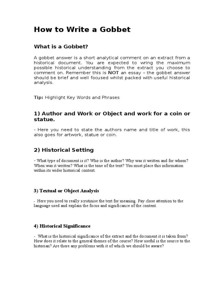 How To Write A Gobbet