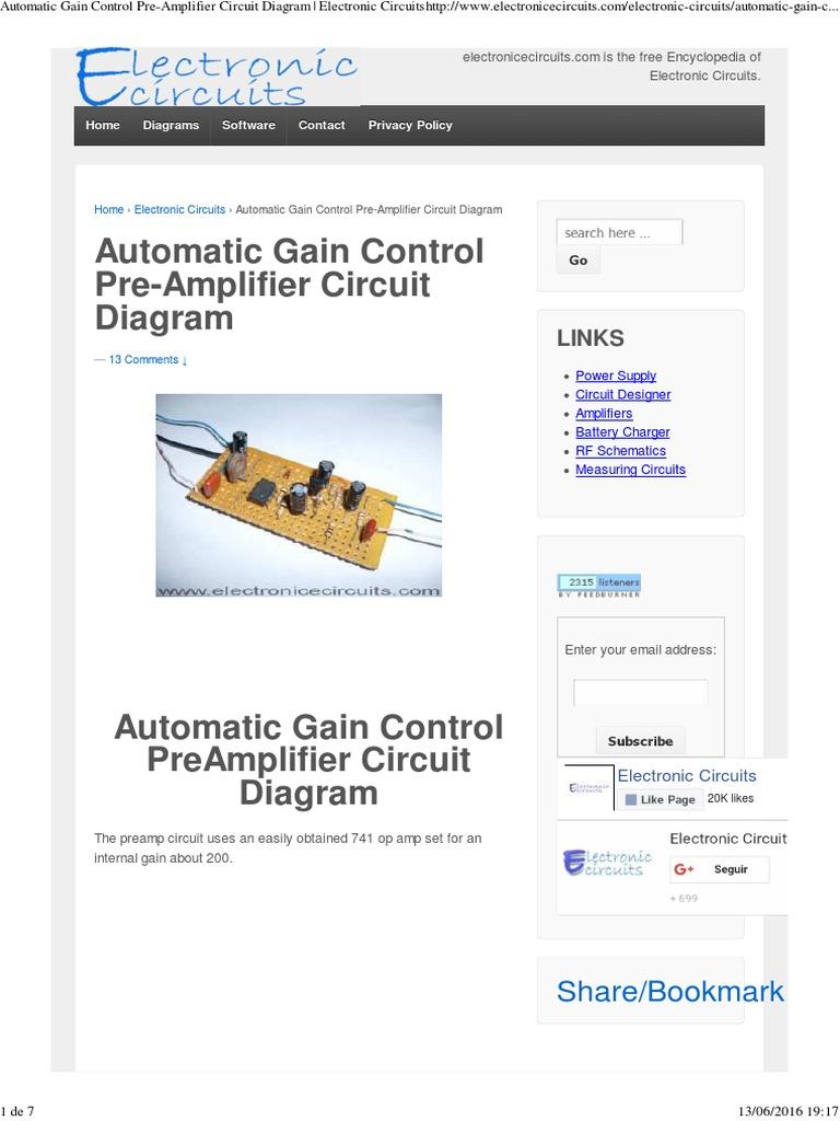 Automatic Gain Control Pre Amplifier Circuit Diagram Electronic Dual Op Amp Amplifiercircuit Circuitspdf Circuits