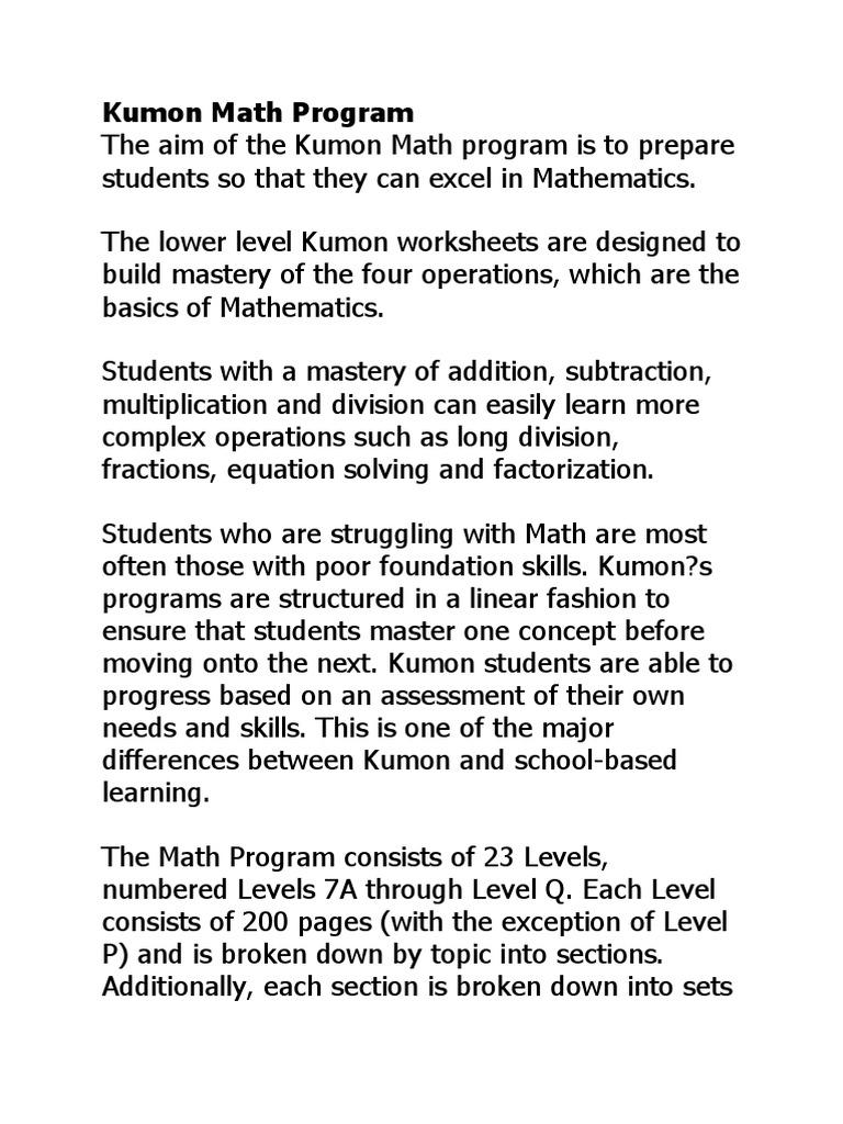 Kumon Programs   Division (Mathematics)   Mathematical Analysis