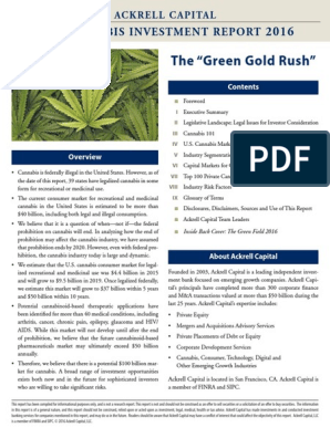 Ackrell Capital Cannabis Investment Report 2016 | Medical