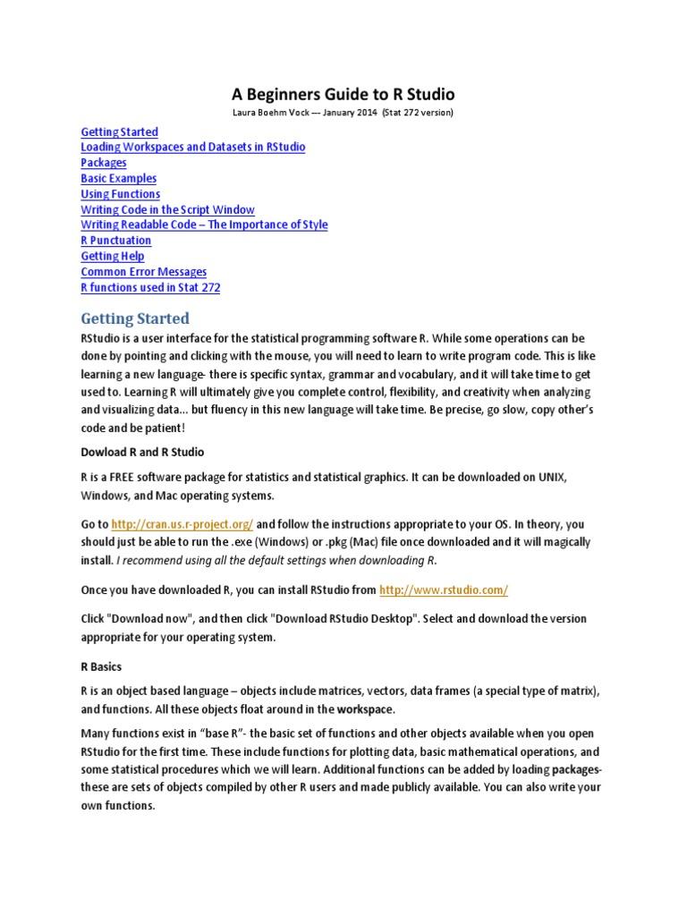 r Studio Info for 272 | R (Programming Language) | Parameter