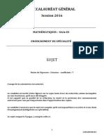 Bac 2016: sujet Mathématiques Spécialité Bac ES !