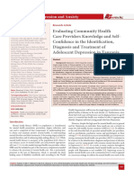 Evaluating Community Health Care Providers Knowledge and Self-Confidence in the Identification, Diagnosis and Treatment of Adolescent Depression in Tanzania
