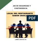 Plan de Seguridad y Contigencia Restaurante Sabor Criollo