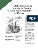 Relé Para La Protección de Un Transformador de Potencia Basado en Redes Neuronales Artificiales