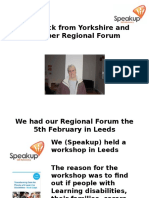 Feedback From Yorkkshire and Humber Regional Forum 7&8 June