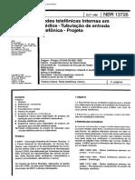NBR 13726 - Redes Telefônicas Internas Em Prédios - Tubulação de Entrada Telefônica - Projeto 19