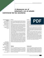 Importancia Del Desayuno en El Rendimiento Intelectual y en El Estado Nutricional de Los Escolares