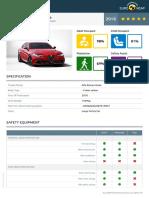 Euroncap 2016 Alfa Romeo Giulia Datasheet