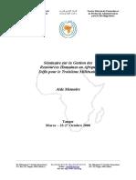 Séminaire Sur La Gestion Des Ressources Humaines en Afrique Défis Pour Le Troisième Millénaire