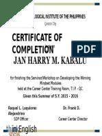 Winning Mindset Certificate