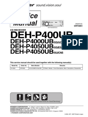 Pioneer Deh-p400ub p4000ub p4050ub | I Pod | SolderingScribd
