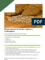 Hamburguesas de Lentejas Veganas y Crudiveganas