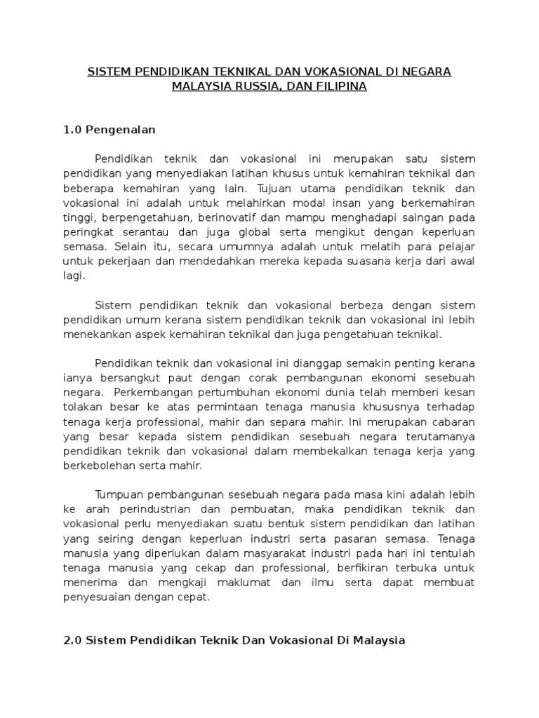 Sistem Pendidikan Teknikal Dan Vokasional Di Negara Malaysia Russia Dan Filipina