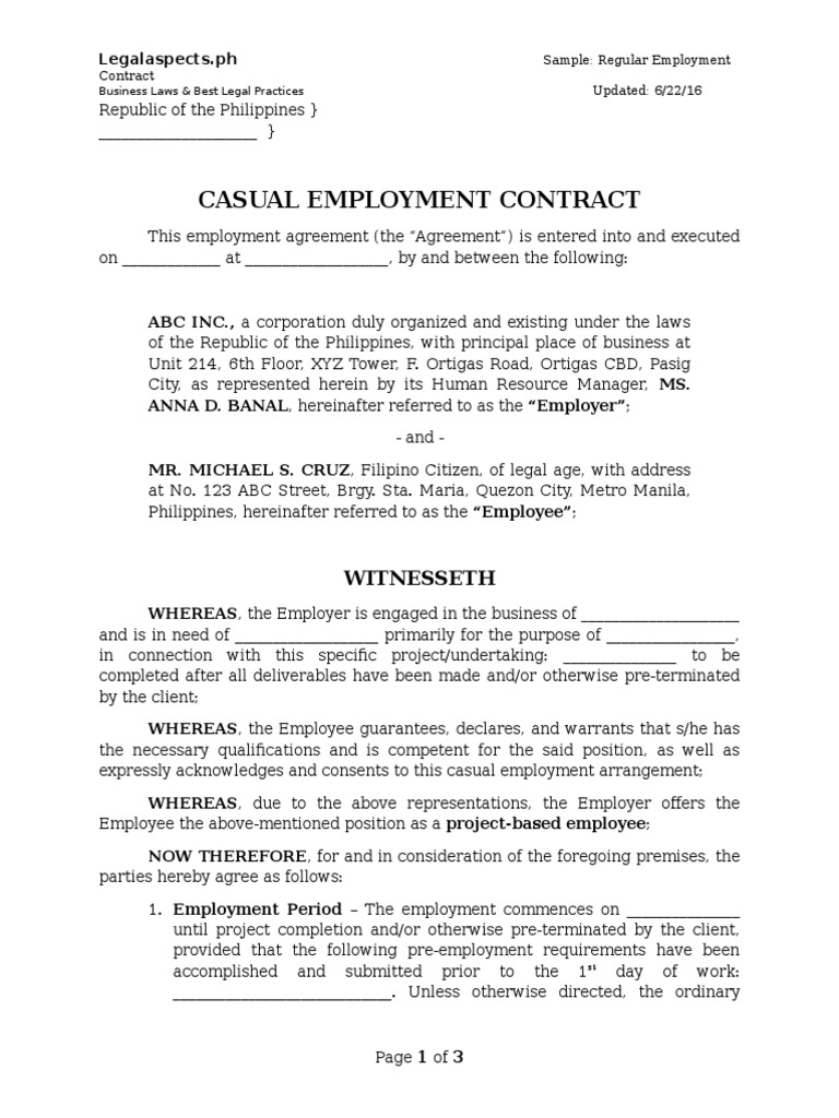 Sample ProjectBased Employment Contract Legalaspectsph – Casual Employment Agreement