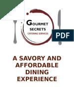 Gourmet Secrets Catering Services Official Menu 2016 Ed