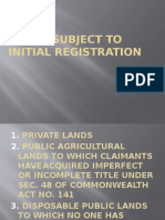 Lands Subject to Initial Registration