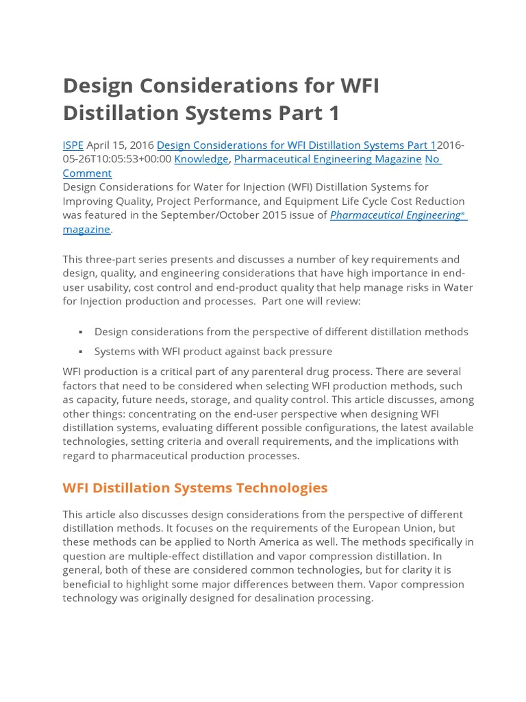 Design Considerations for WFI Distillation Systems Part 1 | Steam