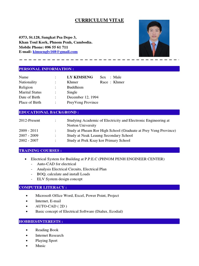 My Curriculum Vitae And Cover Latter Ges Cambodian Co Ltd 2016