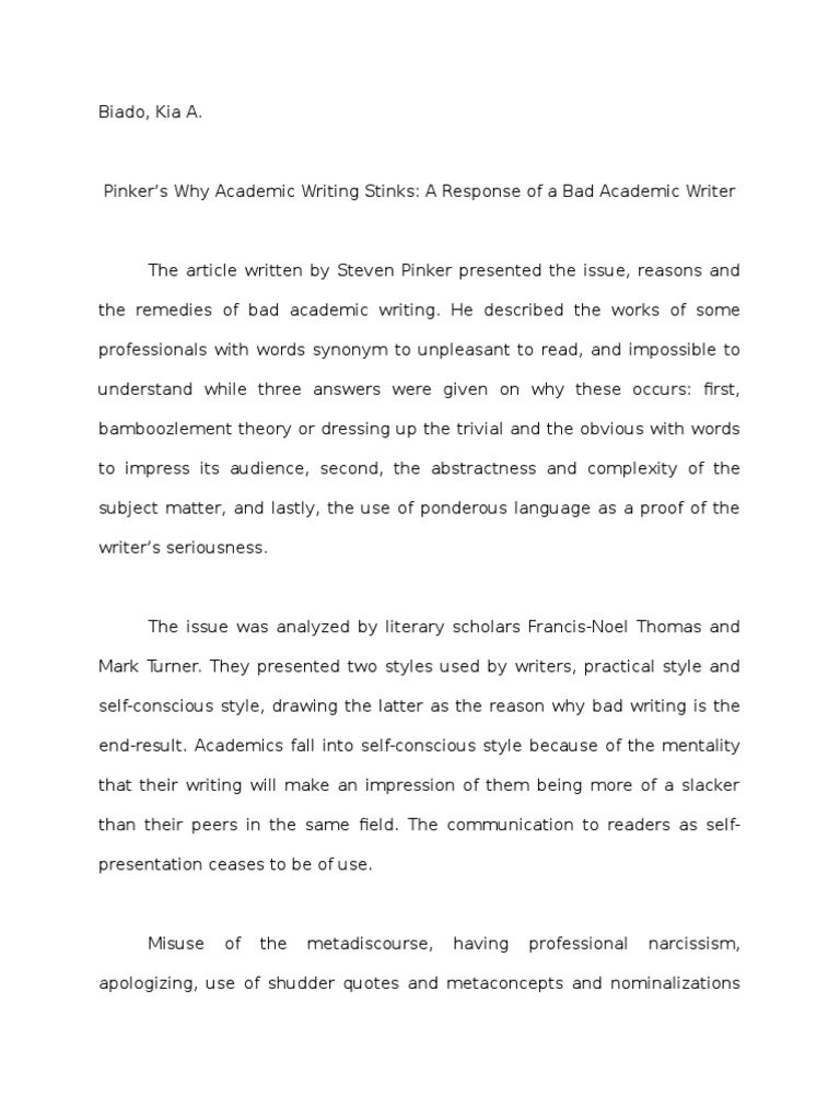 Pinker's Why Acad | Literary Criticism | Narcissism