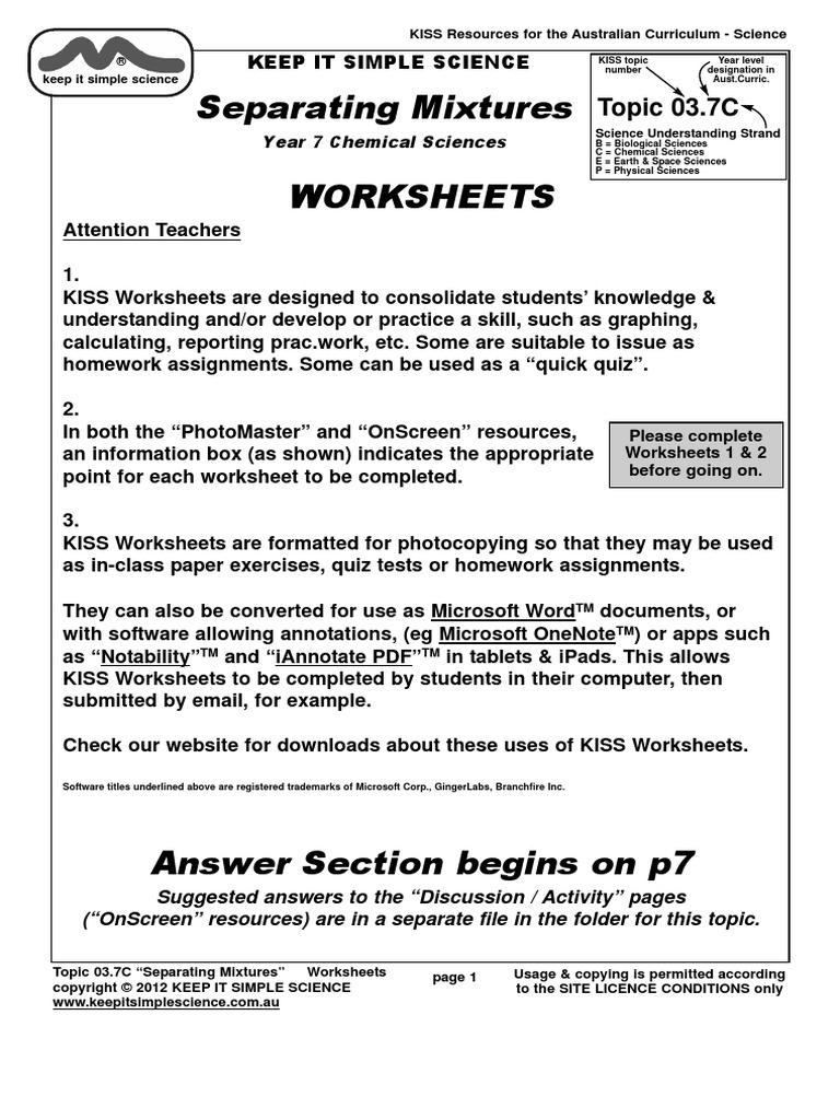 Worksheets037cmixtures Solution Filtration