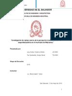 Investigación de campo acerca de la percepción ciudadana sobre la seguridad publica en el municipio de Mejicanos.