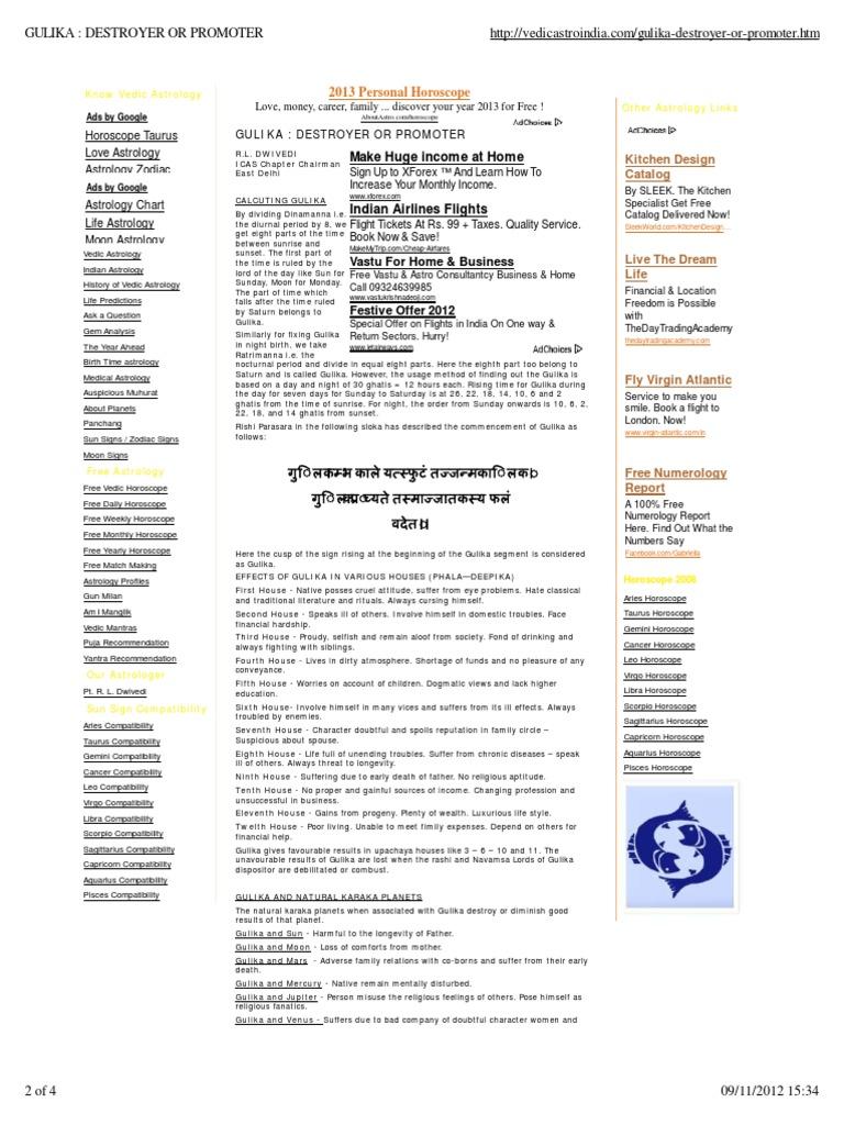 free vedic astrology report