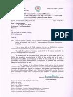 Implementation of Academic Regulations - 2014-15 (B. Tech III Year)