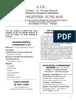 AIR Newsletter JUNE 2016