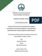 Plan de Trabajo de Grado - Análisis de la Política Fiscal en Ecuador (Gasto Público e Impuestos)