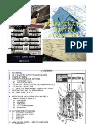 Estimating &Quantity Surveying pdf | Surveying